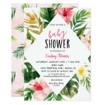 Tropical Leaves Luau Baby Shower Invitation Card
