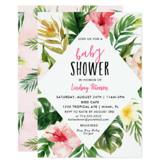 Tropical Leaves Luau Baby Shower Invitation Card