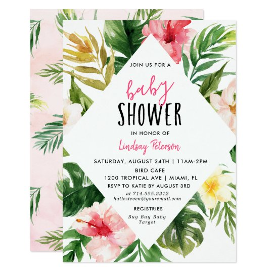 Tropical leaves luau baby shower invitation card zazzle tropical leaves luau baby shower invitation card filmwisefo