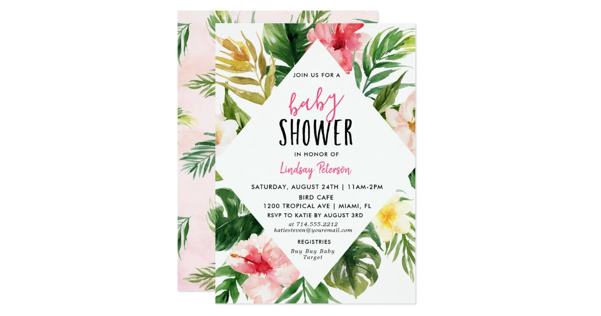 Tropical Leaves Luau Baby Shower Invitation Card | Zazzle.com