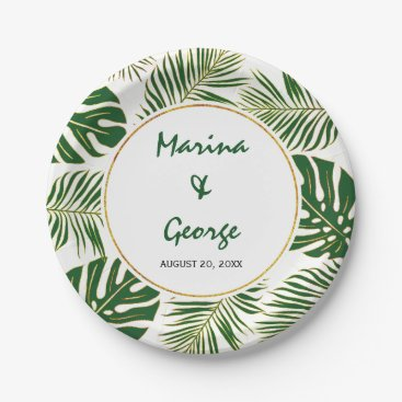 Tropical leaves modern green gold wedding paper plate