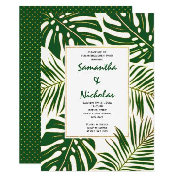 Beach Themed Tropical leaves modern wedding engagement party card