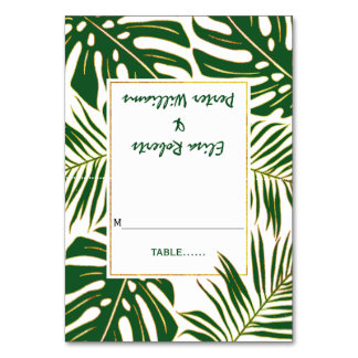 Tropical leaves modern wedding escort card