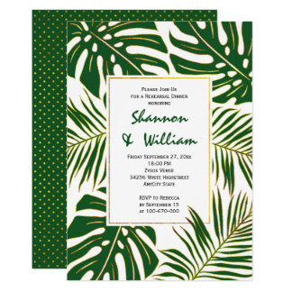 Tropical leaves modern wedding rehearsal dinner card