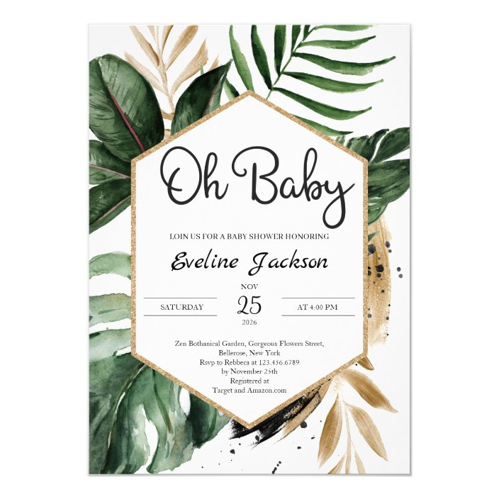 Tropical Leaves Oh Baby Shower Invitation Greenery Zazzle Com Pick your favorite invitation design from our amazing selection or create your own from scratch! tropical leaves oh baby shower invitation greenery zazzle com