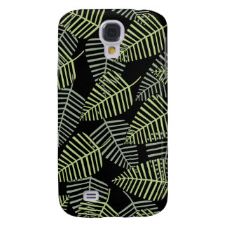 Tropical Leaves on Black. Galaxy S4 Cover