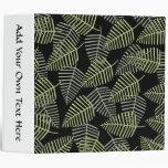 Tropical Leaves on Black. Vinyl Binder