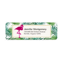 Tropical Leaves Pattern and Pink Flamingo Label