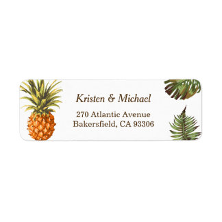 Tropical Leaves Pineapple Decor Luau Wedding Label