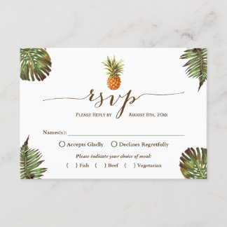 Tropical Leaves Pineapple Hawaiian Luau RSVP