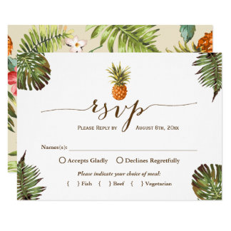 Tropical Leaves Pineapple Hawaiian Luau RSVP Card
