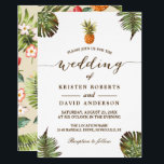 """Tropical Leaves Pineapple Hawaiian Luau Wedding Card<br><div class=""""desc"""">Looking for Tropical Wedding Invitations? Create the perfect Wedding Invite with this &quot;Tropical Leaves Pineapple Hawaiian Luau Wedding Invitation&quot; template to add an authentic tropical island atmosphere. This high-quality design is easy to customize to be uniquely yours! (1) For further customization, please click the &quot;Customize&quot; button and use our design...</div>"""