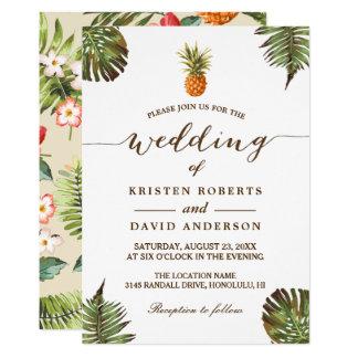 Tropical Leaves Pineapple Hawaiian Luau Wedding Card