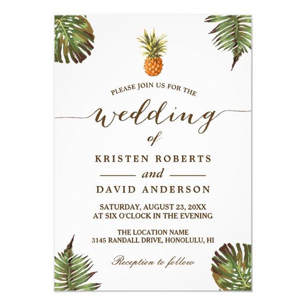 Tropical Leaves Pineapple Hawaiian Luau Wedding Card (back side)