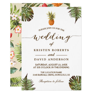 Tropical Leaves Pineapple Hawaiian Luau Wedding Invitation