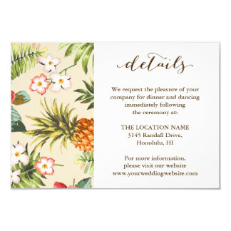 Tropical Leaves Pinele Hawaiian Wedding Details Card