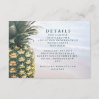 Tropical Leaves Pineapple Hawaiian Wedding Details Enclosure Card