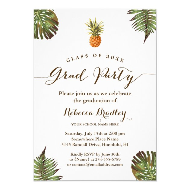 Tropical Leaves Pineapple Luau Graduation Party Card (back side)