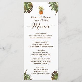 Tropical Leaves Pineapple Luau Styled Wedding Menu