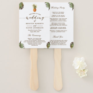 Tropical Leaves Pineapple Luau Wedding Program Hand Fan