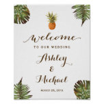 Tropical Leaves Pineapple Luau Wedding Sign