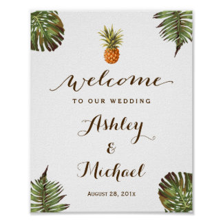 Tropical Leaves Pineapple Luau Wedding Sign