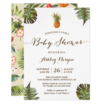 Toddler & Baby themed Tropical Leaves Pineapple Summer Baby Shower Card