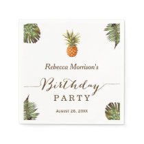 Tropical Leaves Pineapple Summer Birthday Party Napkin