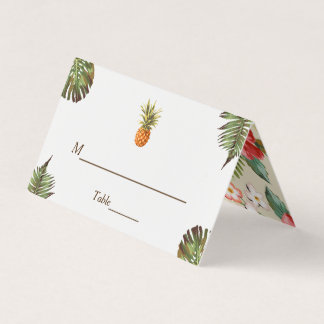Tropical Leaves Pineapple Summer Wedding Table Place Card