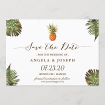 Tropical Leaves Pineapple Wedding Save the Date