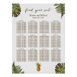 Tropical Leaves Pineapple Wedding Seating Chart