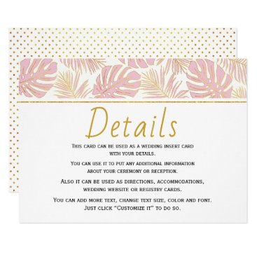 Beach Themed Tropical leaves pink and gold wedding insert card