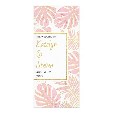 Tropical leaves pink and gold wedding program