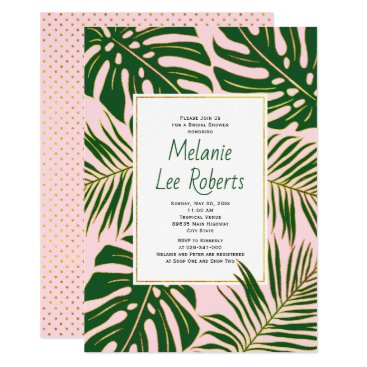 Beach Themed Tropical leaves pink wedding bridal shower card