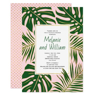 Beach Themed Tropical leaves pink wedding couple's shower card