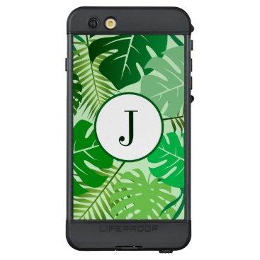 Tropical Leaves Rainforest Foliage Chic Monogram LifeProof NÜÜD iPhone 6s Plus Case