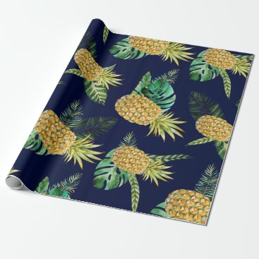 Hawaiian Themed Tropical leaves, watercolor pineapple pattern wrapping paper