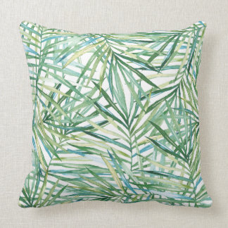 Tropical Leaves Watercolor Throw Pillow