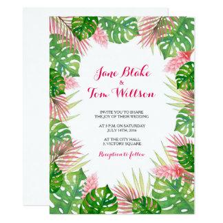 Tropical leaves watercolor wedding invitation