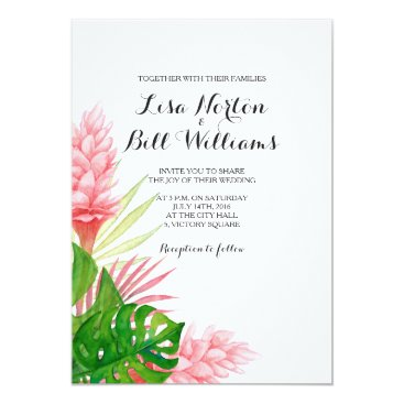 Beach Themed Tropical leaves watercolor wedding invtiation card