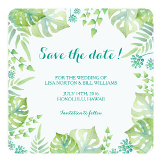 Tropical leaves watercolor wedding save the date card