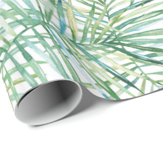 Tropical Leaves Watercolor Wrapping Paper