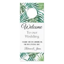 Tropical Leaves Wedding Welcome Door Hanger