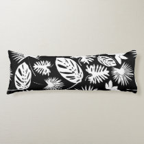 Tropical Leaves - White on Black - Body Pillow