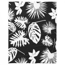 Tropical Leaves - White on Black - Fleece Blanket