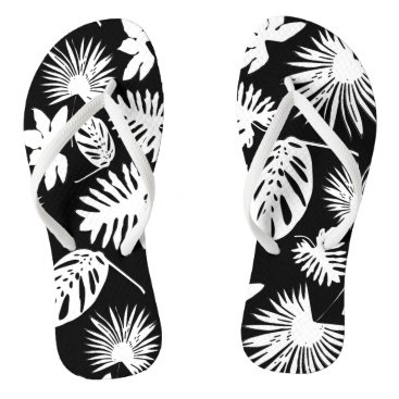 Beach Themed Tropical Leaves - White on Black - Flip Flops