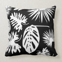 Tropical Leaves - White on Black - Pillow #2