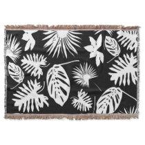 Tropical Leaves - White on Black Throw Blanket