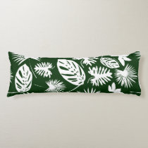 Tropical Leaves - White on Green - Body Pillow