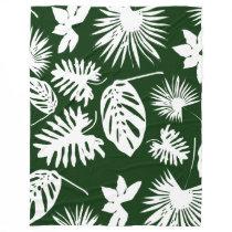 Tropical Leaves - White on Green - Fleece Blanket